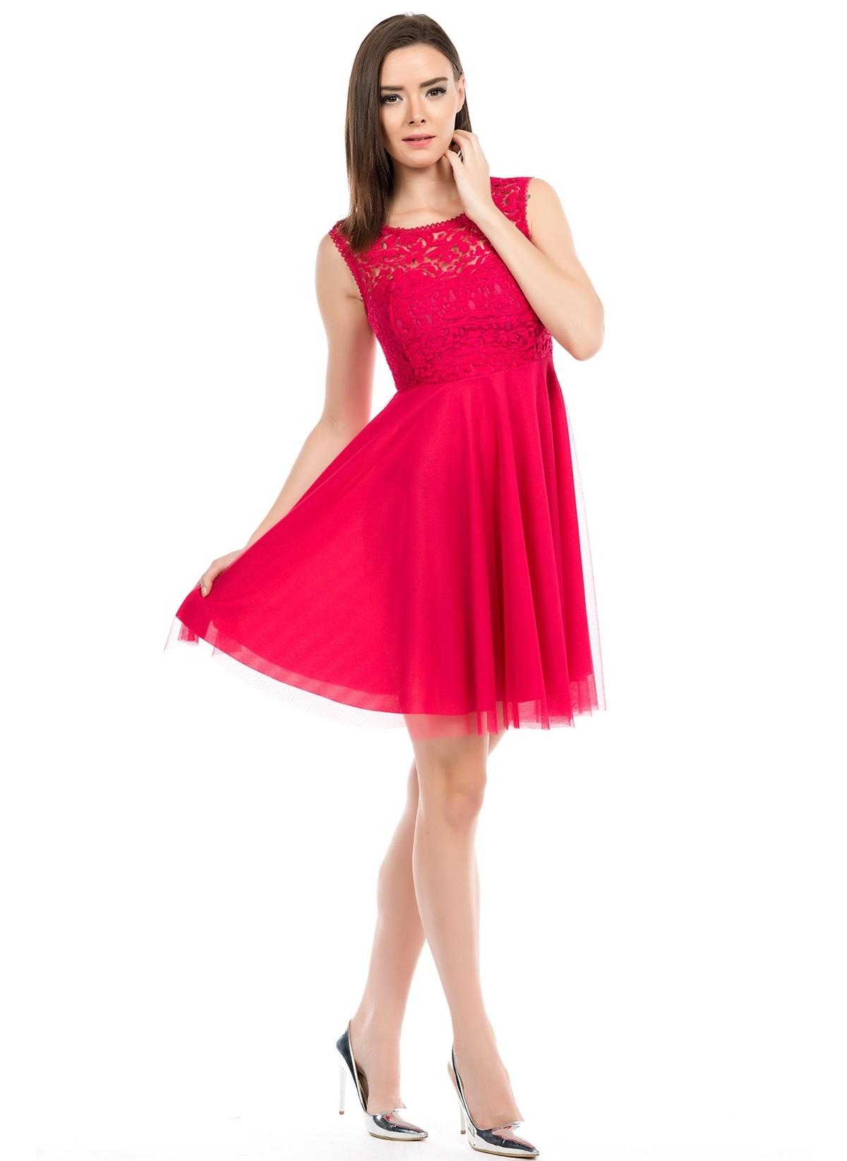 52ad3ca901c76 İroni Kadın Öpücük Yaka Kısa Elbise Fusya | Morhipo | 15423311